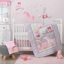 Bedtime Originals Rainbow Unicorn - Juego de ropa de cama para cuna (3 piezas), color morado