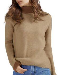 QUALFORT suéteres elásticos con Cuello de Tortuga café para Mujer