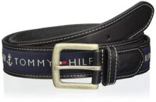 Tommy Hilfiger 35MM WOVEN RIBBON INLAY W/LEATHER TAB & Cinturón para Hombre