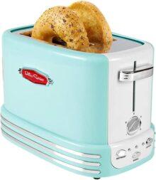 Nostalgia RTOS200AQ Tostador de 2 rebanadas retro ancho perfecto para pan, muffins ingleses, bagels, 5 niveles de Browning con bandeja para migajas y almacenamiento de cuerda - Aqua