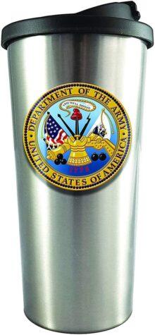 Spoontiques - Vaso para vino (acero inoxidable), U.S. ARMY, Plateado, 16 ounces, 1