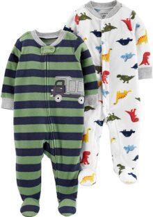 Carter's Baby Boys Paquete de 2 Unidades de Forro Polar con pies para Dormir y Jugar