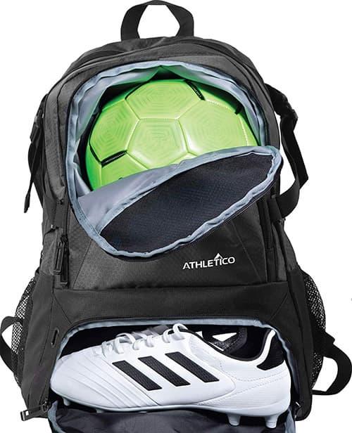 Athletico National – Mochila de baloncesto y fútbol, incluye soporte separado para balones de fútbol, jóvenes, niños, niñas, hombres y mujeres, Negro