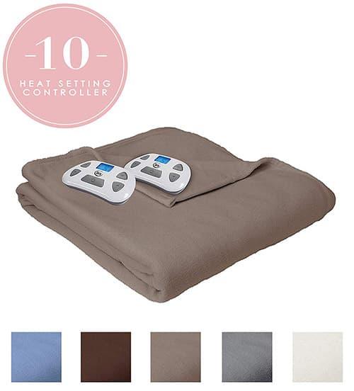 Serta Heated Electric Fleece Blanket with Programmable Digital Controller, King, Beige Model 0917