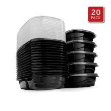 Rubbermaid 2077543 TakeAlongs kit de preparación de comidas y almacenamiento de alimentos, Paquete de 20, Negro, 3.7-Cup, 1