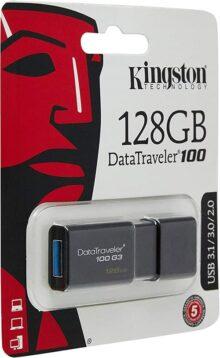 Kingston Digital 128GB DataTraveler 100 G3 USB 3.0 100MB/s Read, 10MB/s Write (DT100G3/128GB)