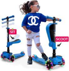 Patinete Hurtle con 3 ruedas para niños – 2 en 1 sentado/soporte para niños pequeños de juguete con asiento abatible, altura ajustable, cubierta ancha, luces intermitentes, para niños/niñas, 1 año de edad, HURFS66 (rosa)