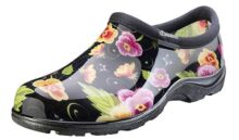 Sloggers Women's Waterproof  Rain and Garden Shoe with Comfort Insole, Pansy Black, Size 8, Style 5114BP08