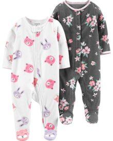 Carter's Baby Girls Paquete de 2 Calcetines de Forro Polar para Dormir y Jugar
