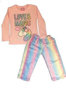 E-Fashion Pijama de Unicornio, Manga Larga, pantalón Arcoiris