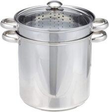 Excelsteel Juego de ollas de acero inoxidable 18/10 con base encapsulada, 11 litros, 4 piezas