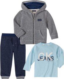 Calvin Klein Juego de 3 Piezas de Pantalones y Chamarra. Juego de Pantalones para Bebé-Niños