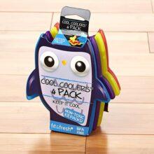 Fit & Fresh Cool Coolers Paquetes de hielo delgados para loncheras, bolsas y hieleras; formas acuáticas para niños, Búhos, Multicolor, Owls, 1