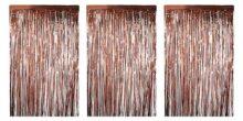 Cortinas con flecos de papel de aluminio, paquete de 3, cortina metálica de lámina de oro rosa, cortina de flecos metálicos para decoración de fotos de boda, decoración de fiesta de cumpleaños, fondo de cabina de fotos, 8 x 3 pies