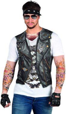 Faux Real - Playera de Motociclista para Hombre con Mangas de Malla de Tatuaje