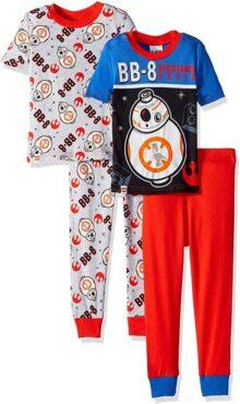 LEGO Conjunto de 4 Piezas de Pijama de Manga Corta, pantalón Largo Little BB-8 Droid, Brilla en la Oscuridad, Juego de Pijama para Niños