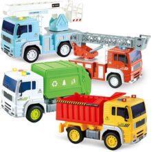 Joyin - Vehículos urbanos con potencia de fricción, 4 unidades, incluye camión de basura, coche de bomberos, camión elevador de bomberos y camión de volcado de construcción con luces y sonidos