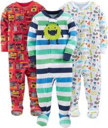 Simple Joys by Carter's Pijama de algodón con pies Ajustados para bebés y niños pequeños, Paquete de 3