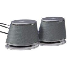 Amazon Basics - Altavoces USB para computadora con Sonido dinámico, Individual, Plateado