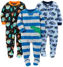 Simple Joys por Carter's Baby and bebé Boys '3-Pack Loose Fit Fleece Footed Pijamas