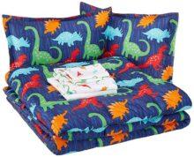 AmazonBasics Cama en una bolsa, microfibra suave y fácil de lavar, infantil, matrimonial/queen, dinosaurios multicolores