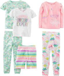 Simple Joys por Carter's Baby, Little Kid, y bebé niñas de 6 Piezas Ajuste cómodo algodón Pijama Set