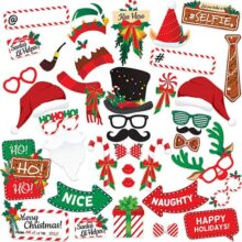 Kit de accesorios para fotomatón de fiesta de Navidad (38 piezas) para fotomatones de fotos. Juego de suministros de Navidad para artistas. Decoración de telón de fondo. Variedad de regalos y juegos para niños y adultos.