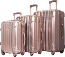 """Kensie 3 piezas Alma Light Metallic Style Spinner Set de equipaje, Acento metálico claro""""Alma"""", Rose gold, Una talla"""