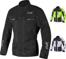 Chamarra de moto Adventure/Touring para hombre, tela de motociclismo CE blindada, impermeable, chamarra ADV para 4 temporadas, Negro, XXXX-Large