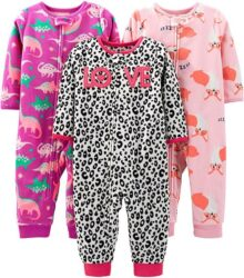 Simple Joys por Carter's Pijama de Forro Polar sin pies, Paquete de 3