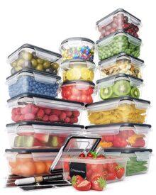 Juego de recipientes de almacenamiento de alimentos – Contenedores de plástico herméticos con tapas de fácil cierre (16 unidades) – Contenedores de cocina y despensa a a prueba de fugas – sin BPA – 16 etiquetas de pizarrón y marcador – Camino de chef