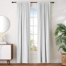 AmazonBasics Conjunto de cortinas de oscurecimiento y alzapaños, 132 cm x 244 cm, blanco