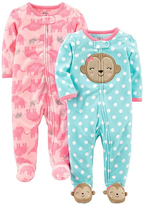Pack de 2 Simple Joys by Carters Paquete de 2 Calcetines de Forro Polar para Dormir Y Jugar Infant-and-Toddler-Sleepers beb/és ni/ñas