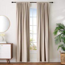 "AmazonBasics Juego de cortinas para bloqueo de luz y aislamiento térmico, con alzapaños, 106 x 244 cm (42 x 96""), topo (2 paneles)"