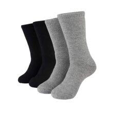 Hot Feet Calcetines térmicos para hombre, cálidos, calcetines, calcetines, calcetines, calcetines, tallas 6-12,5,  Gris claro sólido jaspeado/negro sólido, Shoe size 6-12 1/2