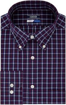 Izod Camisa de Vestir de Ajuste Regular con Botones y Cuello a Cuadros Camisa de Vestir para Hombre