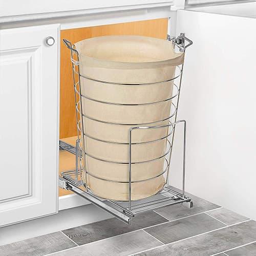 Lynk Soporte con Bandeja deslizable para basurero (se Puede Colocar en gabinete), Cromo