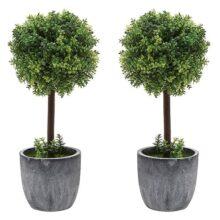 Juego de 2 pequeños árboles de topia artificial de madera de boj / plantas de mesa de imitación con ollas de cerámica gris
