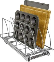 Lynk Roll out Tabla de Cortar, Bakeware, y de la Bandeja Organizador–Pull out Rack de Mueble de Cocina Profesional–Chrome