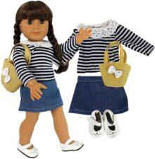 """Dress Along Dolly Casual School Day Doll Outfit para American Girl & 18"""" Dolls – Juego de Ropa de 4 Piezas Incluye Camisa, Falda, Zapatos, y Bolso"""