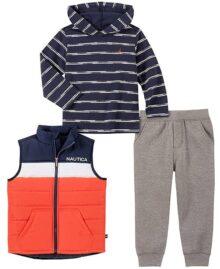 Nautica Juego de 3 Piezas de Pantalones de Chaleco. Juego de Pantalones para Niños