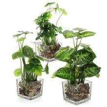 Conjunto MyGift de 3 plantas artificiales, vegetación de mesa falsa con macetas de vidrio transparente