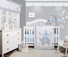GEENNY OptimaBaby Blue Grey Elephant 6 Piece Baby Nursery Crib Bedding Set