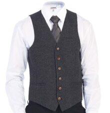 Gioberti - Chaleco de Tweed de Espiga con 6 Botones para Hombre