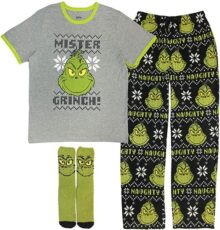 MJC International - Conjunto de Pijama de 3 Piezas para Hombre (Camiseta, Pantalones de Forro Polar, Calcetines a Juego), The Grinch, Small