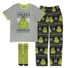 MJC International - Conjunto de Pijama de 3 Piezas para Hombre (Camiseta, Pantalones de Forro Polar, Calcetines a Juego), The Grinch, Small