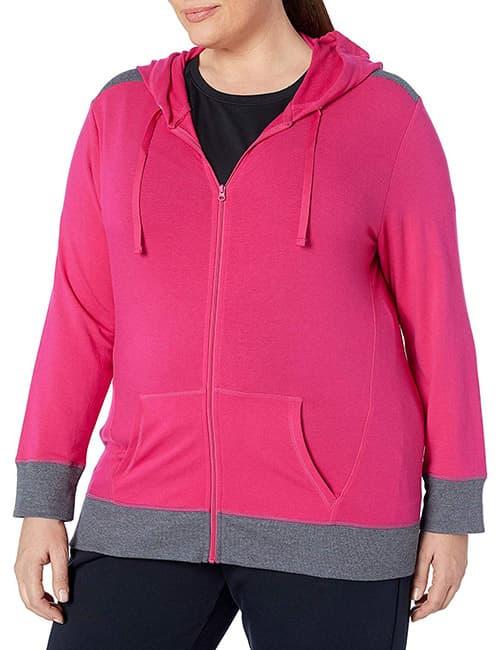 Just My Size Sudadera con capucha y cierre completo para mujer