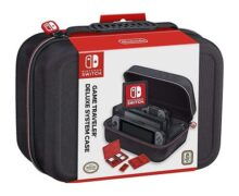 RDS Industries Nintendo Switch System Carry Case - Funda protectora Deluxe Travel System - Exterior de nailon balístico negro - Producto oficial de Nintendo