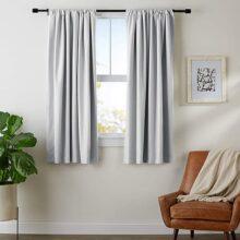 AmazonBasics Conjunto de cortinas de oscurecimiento y alzapaños, 132 cm x 160 cm, gris claro
