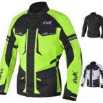 Chamarra de moto Adventure/Touring para hombre, tela de motociclismo CE blindada, impermeable, chamarra ADV para 4 temporadas, Verde de alta visibilidad, Large